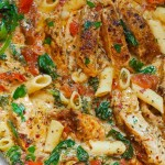 Chicken Penne with Bacon and Spinach in Creamy Tomato Sauce