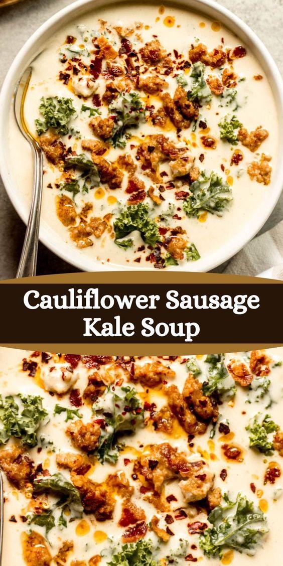 Cauliflower-Sausage-Kale-Soup