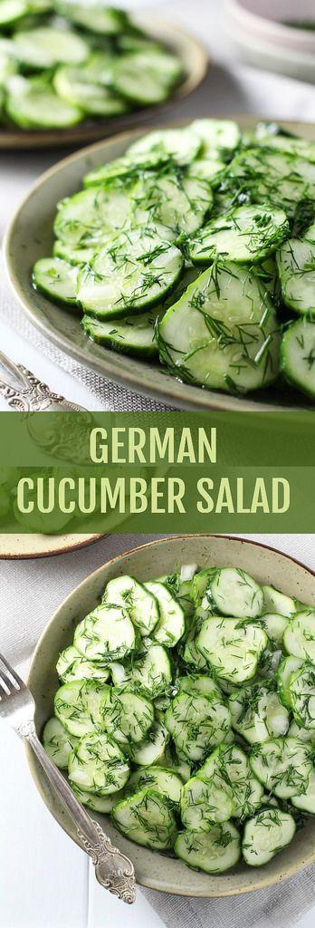 German-Cucumber-Salad - 2-Dressing-Options